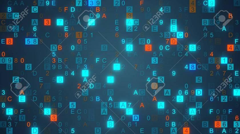 Digital data hex code symbols